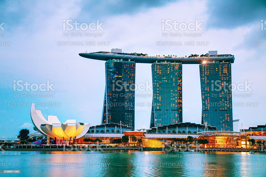 Overview of Singapore with Marina Bay Sands stock photo