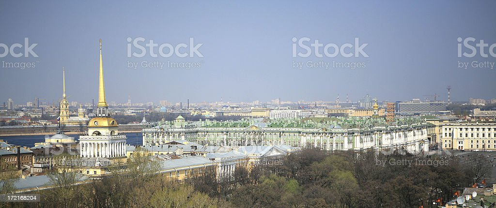 Overview of St Petersburg from Saint Isaac'c Cathederal roof stock photo