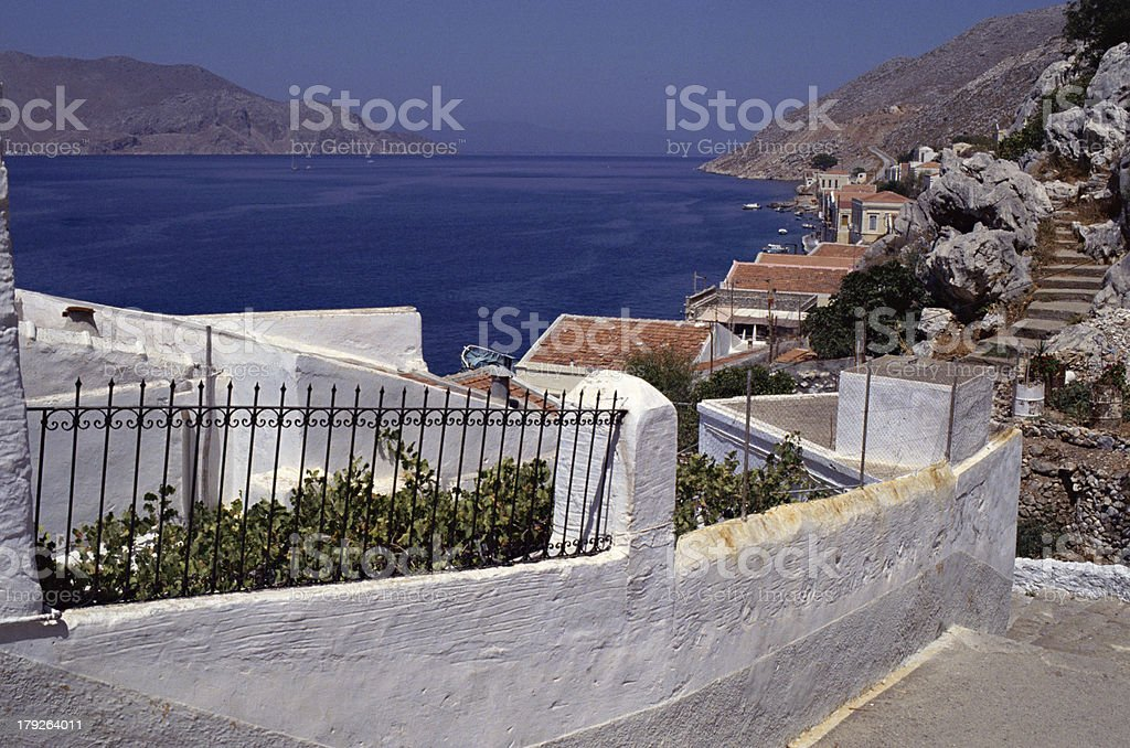 Overview of Symi island and village in Greece stock photo
