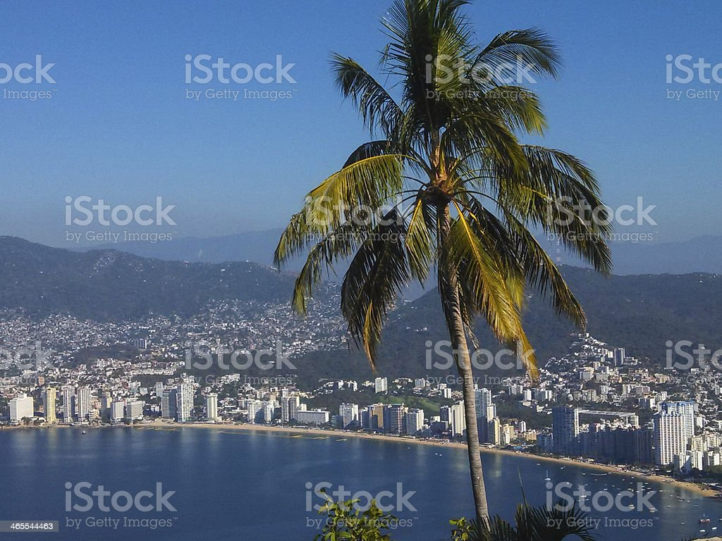 Overview of the beach area in Acapulco Bay Mexico stock photo