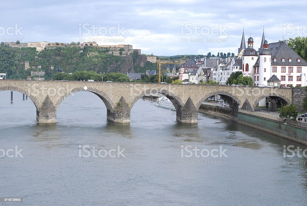 Overview of the bridge at Koblenz stock photo