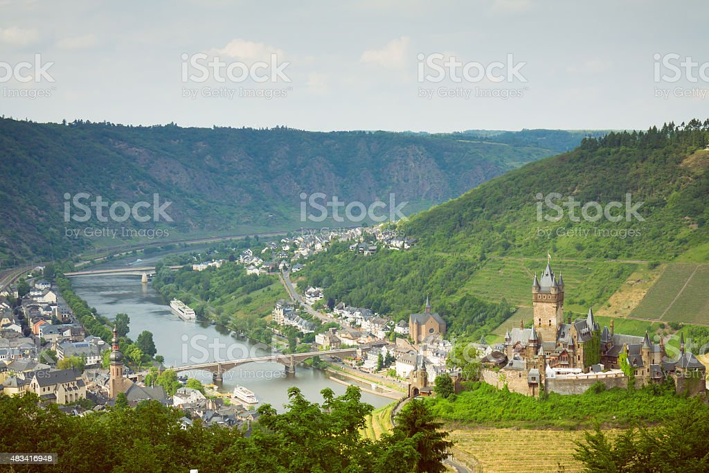Overview of the city of Cochem, Germany stock photo