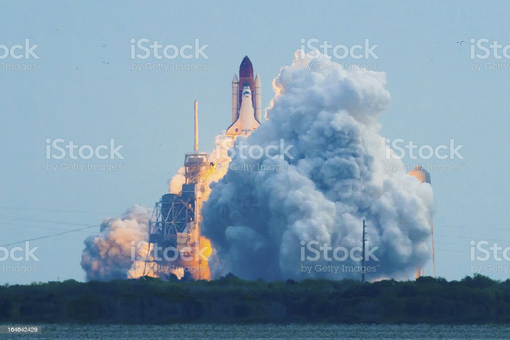 Overview of the launch of Endeavour STS134 stock photo