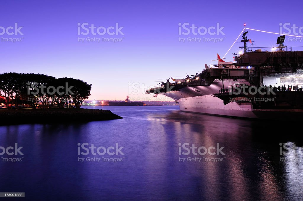 Overview of the midway at dusk stock photo