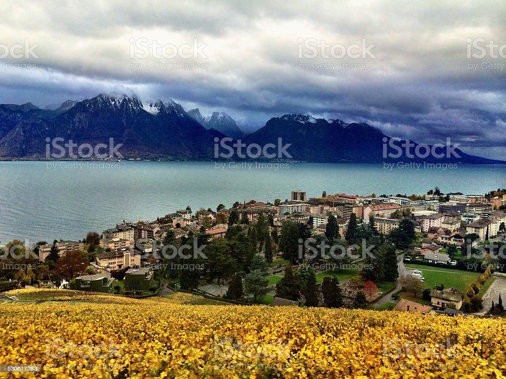 Visão geral dos Alpes suíços foto royalty-free