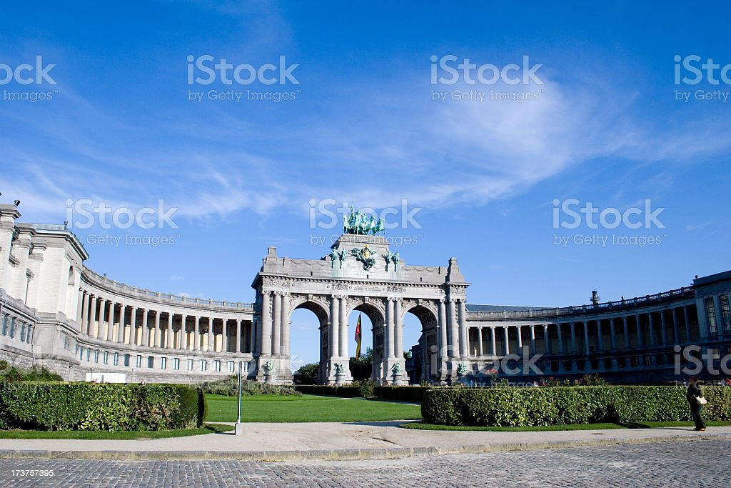 Overview of the Triumphal Arch in Brussels on clear day stock photo