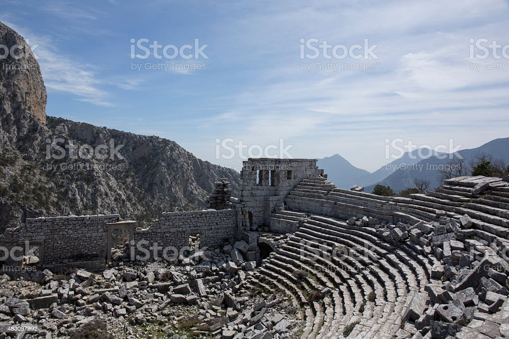 Overview of theatre and broken steps, Termessos stock photo