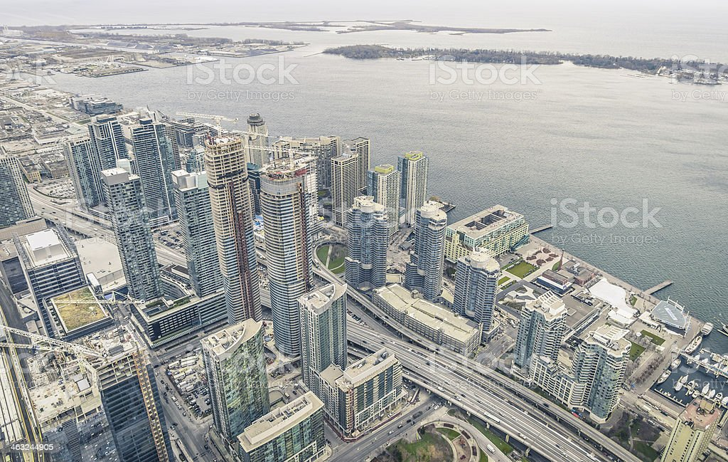 Overview of Toronto skyscrapers at waterfront on Ontario Lake royalty-free stock photo