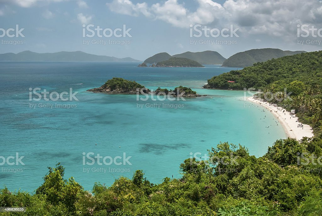 Overview of Trunk Bay in US Virgin Islands stock photo