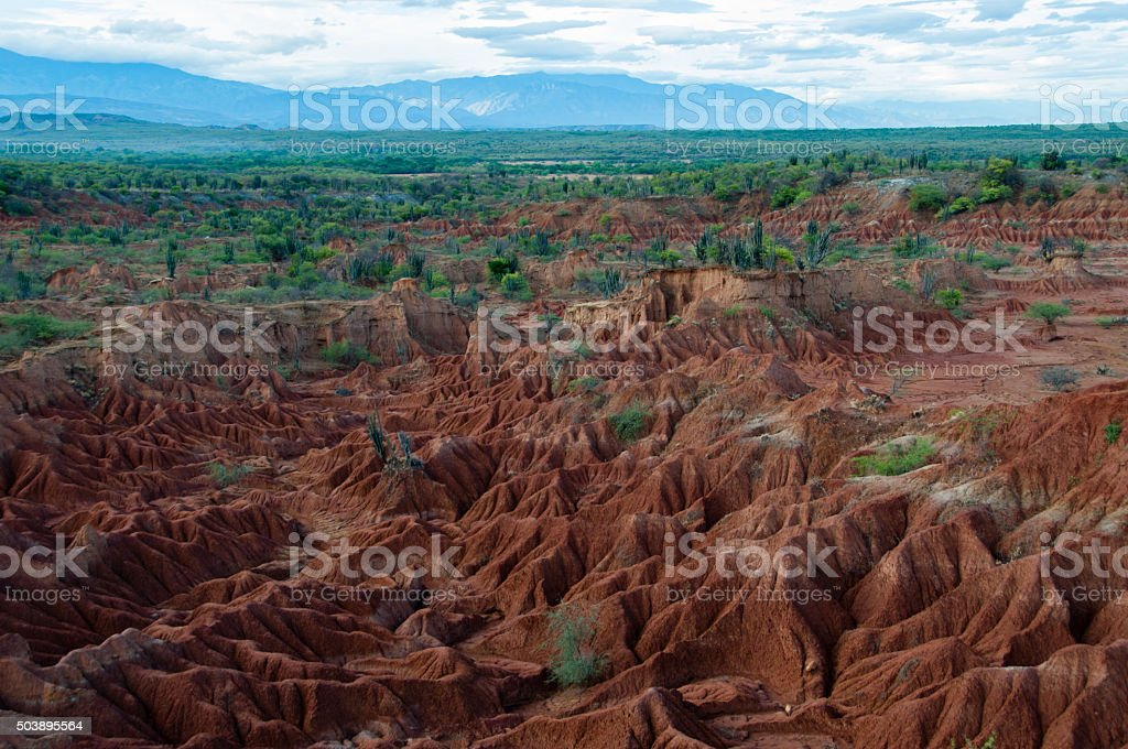 Overview Red sand stone formation of Tatacoa desert in Huila stock photo