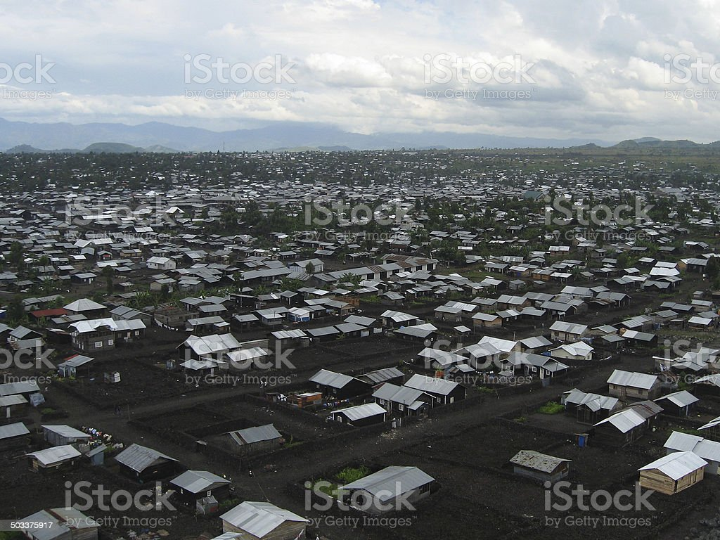 Overview Refugee Camp near Goma Republic of Congo Africa stock photo