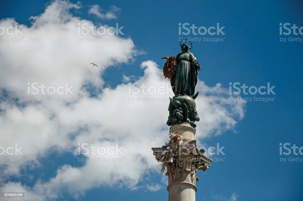 Overview sculpture over the Column of the Immaculate Conception in Rome stock photo