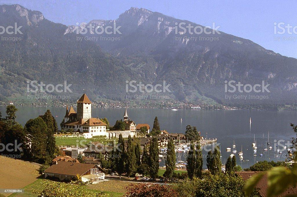 Overview Spiez Lake Thunersee Interlaken Region Switzerland stock photo