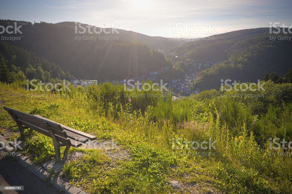 Overview the famous city Triberg with seat stock photo