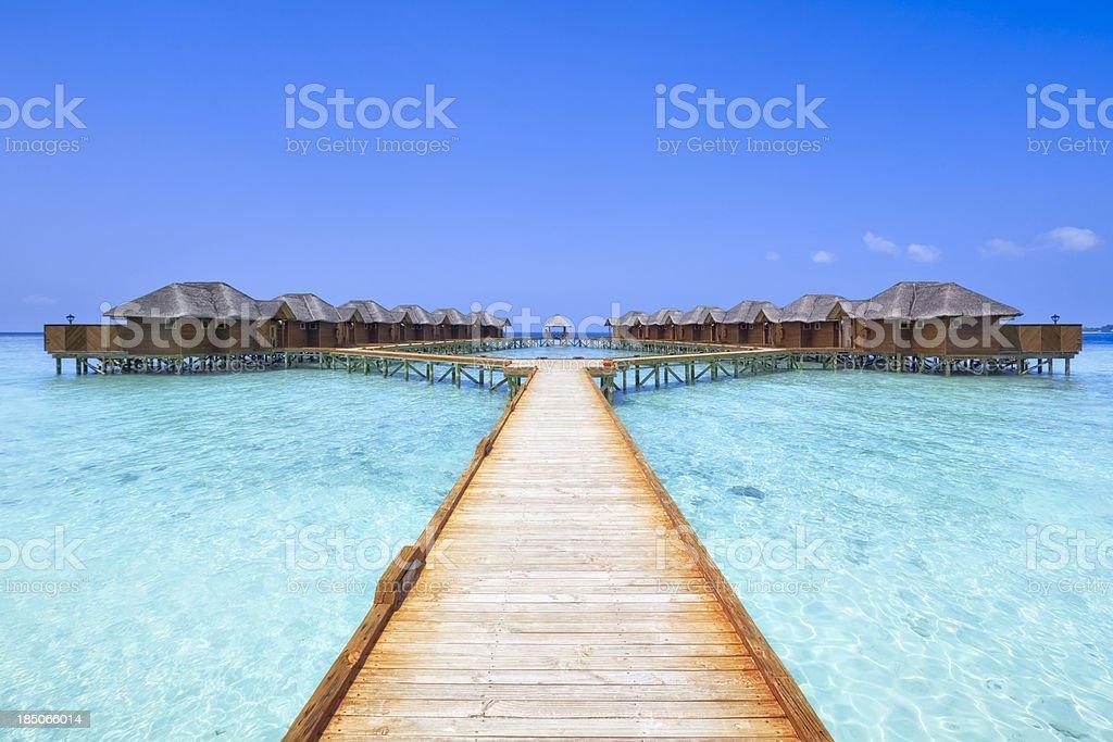 Overwater Bungalows Boardwalk stock photo