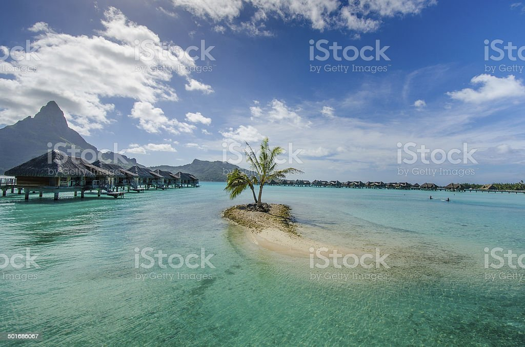 Overwater bungalows in Pacific royalty-free stock photo