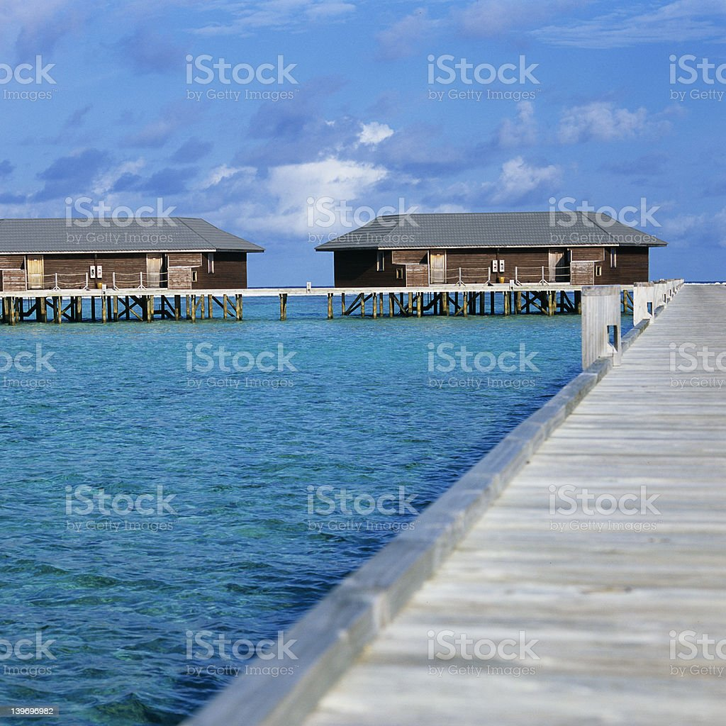 Overwater bungalows in the Maldives 3 royalty-free stock photo
