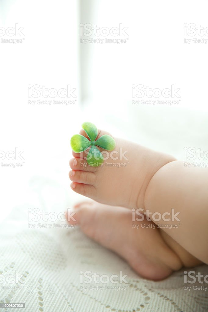 overweight baby foot stock photo
