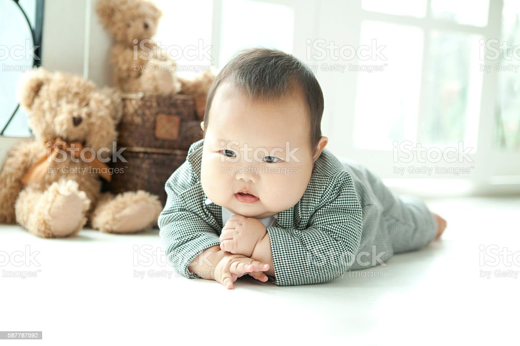 overweight baby stock photo