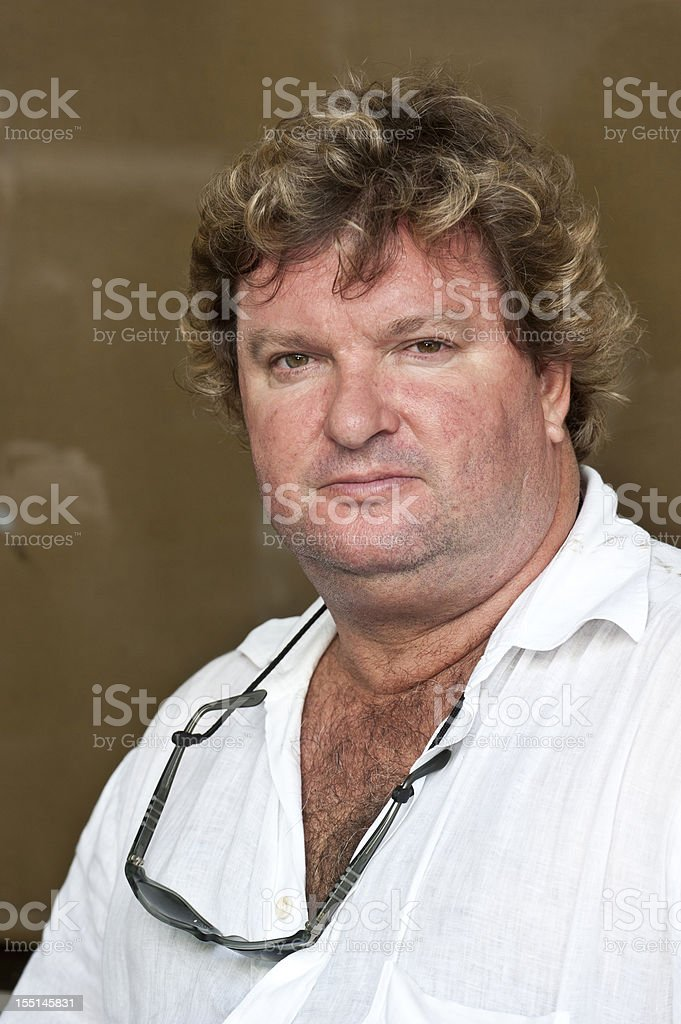 Overweight caucasian mature man royalty-free stock photo