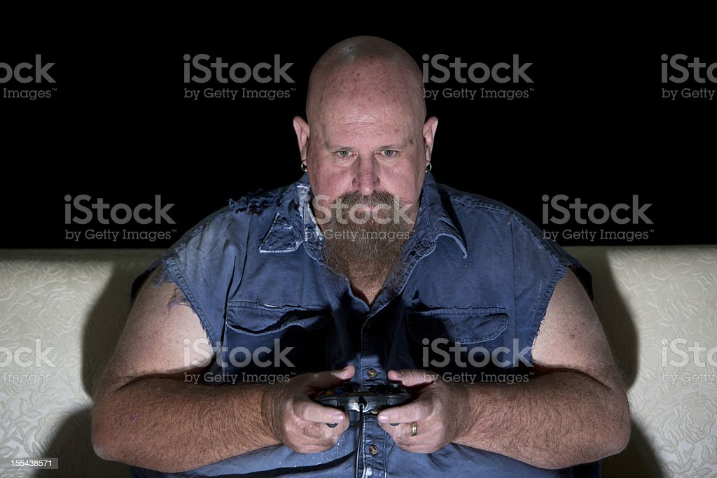 Overweight Computer Gamer royalty-free stock photo