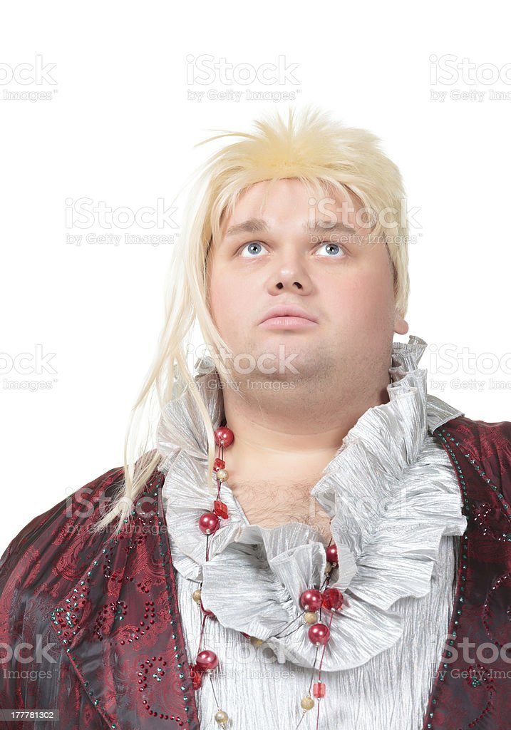 Overweight entertainer or disillusioned drag queen stock photo
