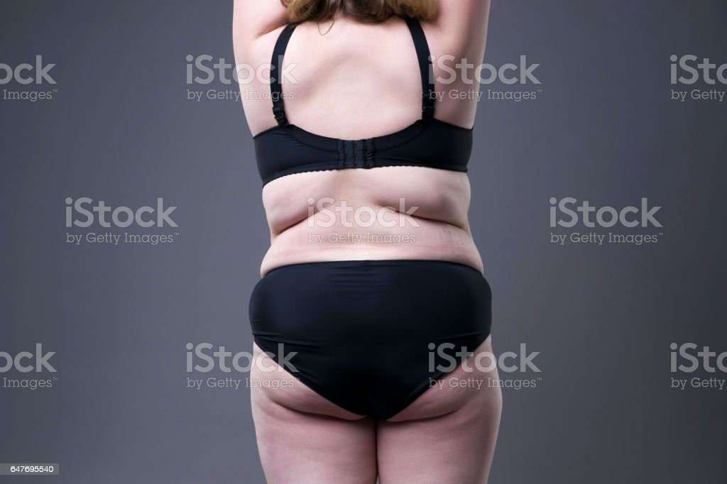 Plus size model in black lingerie, overweight female body, fat woman...