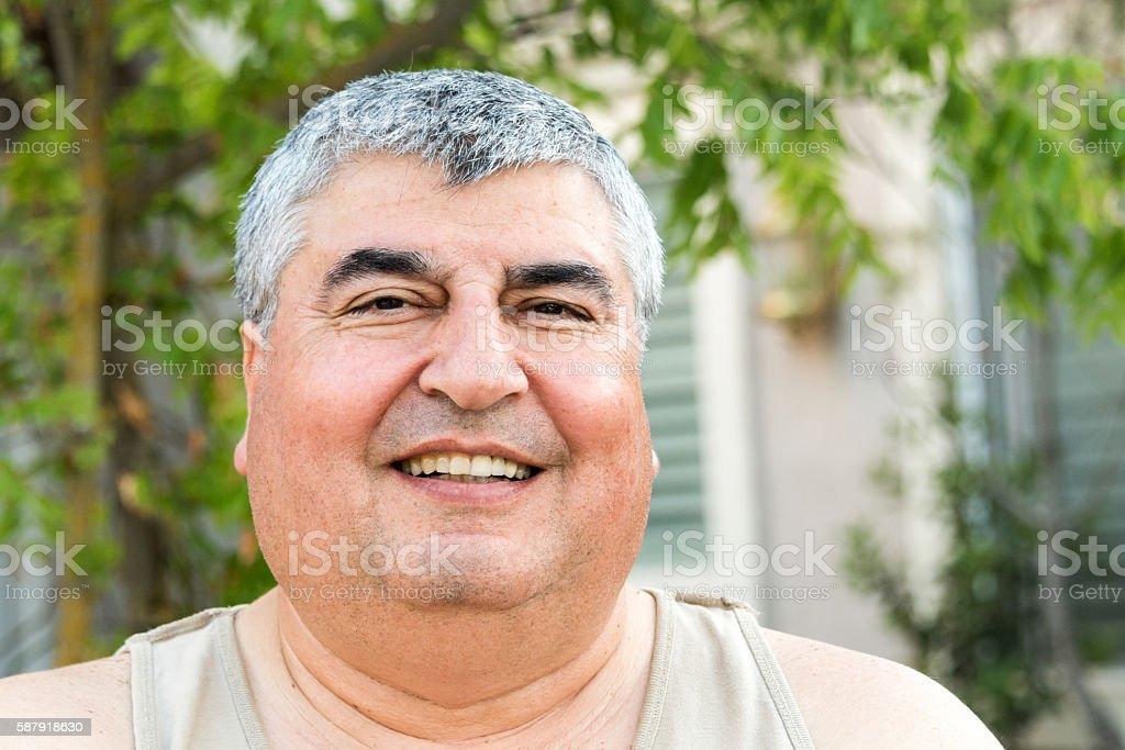 Overweight Mature man stock photo