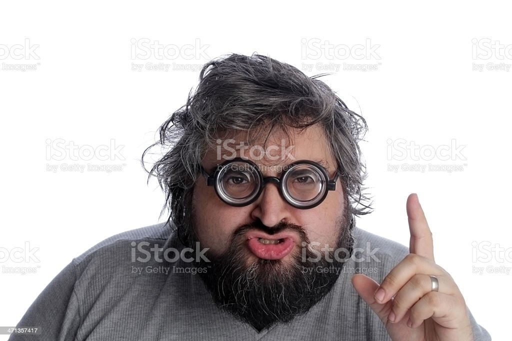 Overweight nerd pointing at something stock photo