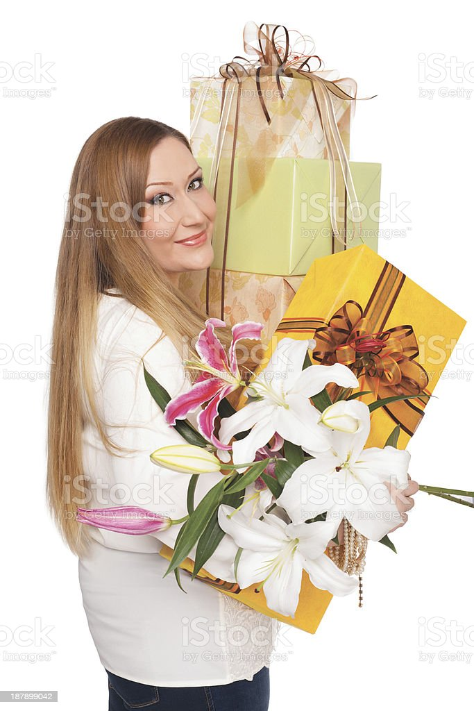 overweight positive woman flower presents stock photo