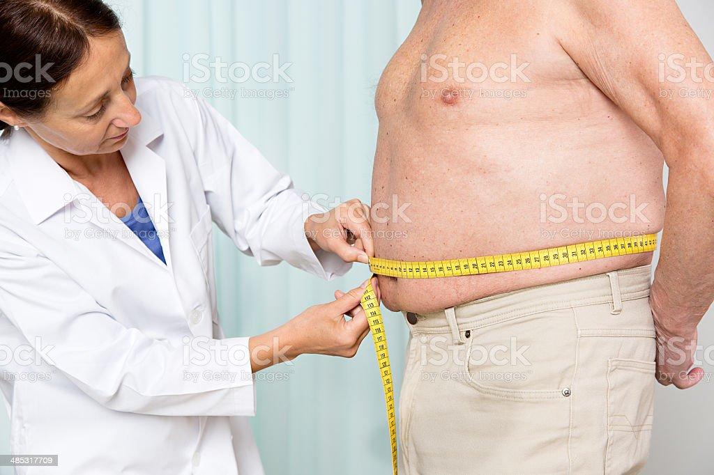 Overweight senior adult stock photo