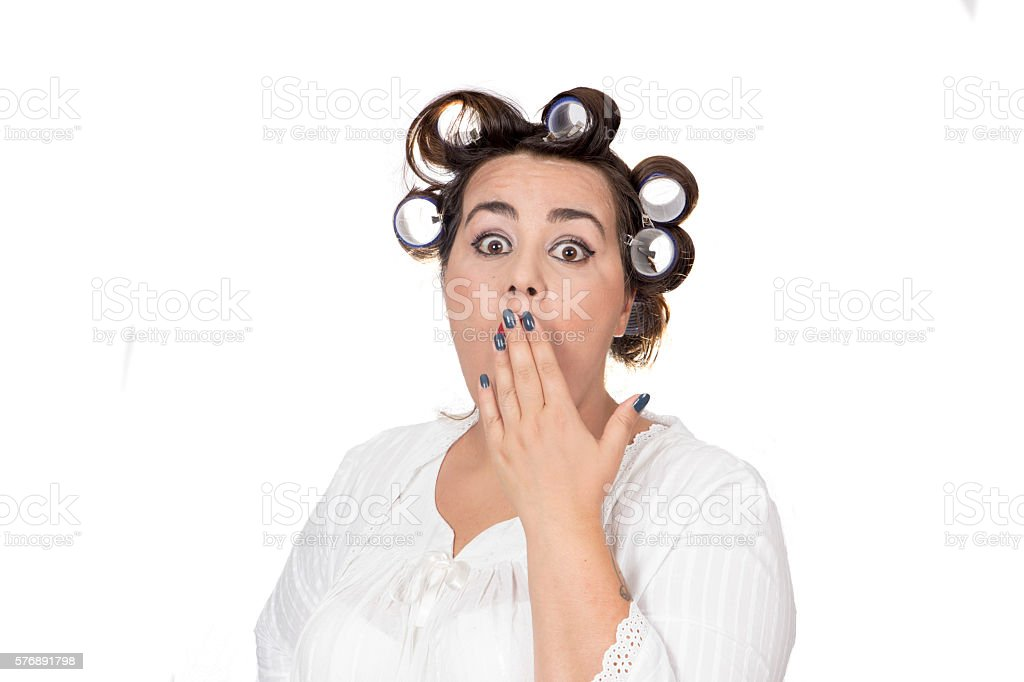 overweight surprised woman stock photo