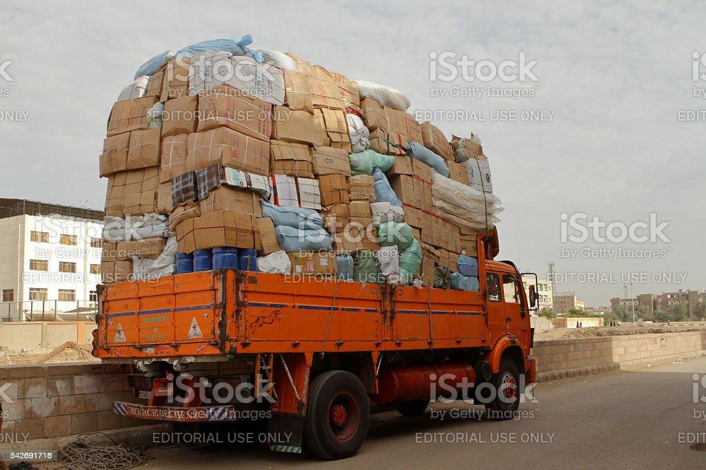Overweight trucks in Egypt stock photo
