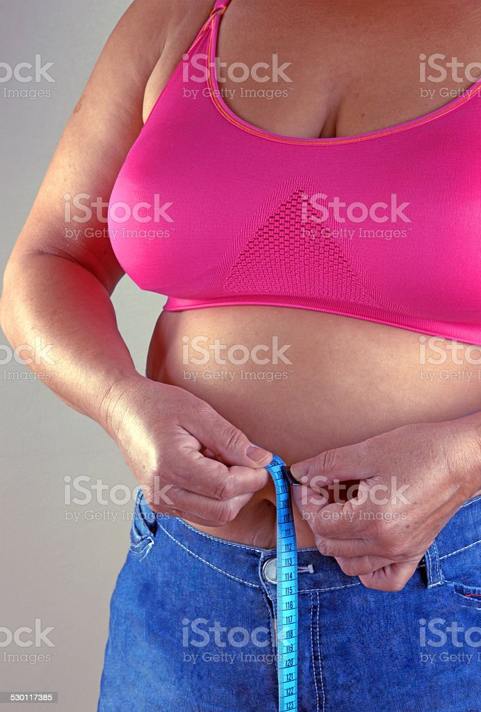 overweight woman decide to make diet stock photo