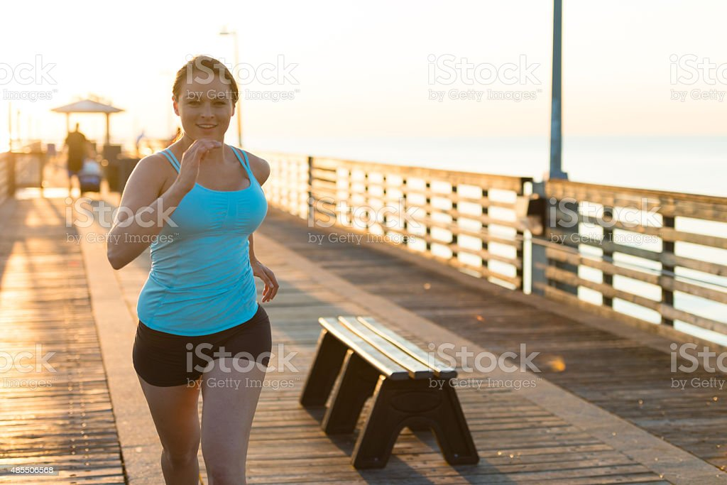 Overweight Woman Running stock photo