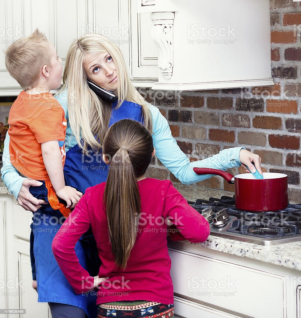 Overwhelmed and frustrated Mom stock photo