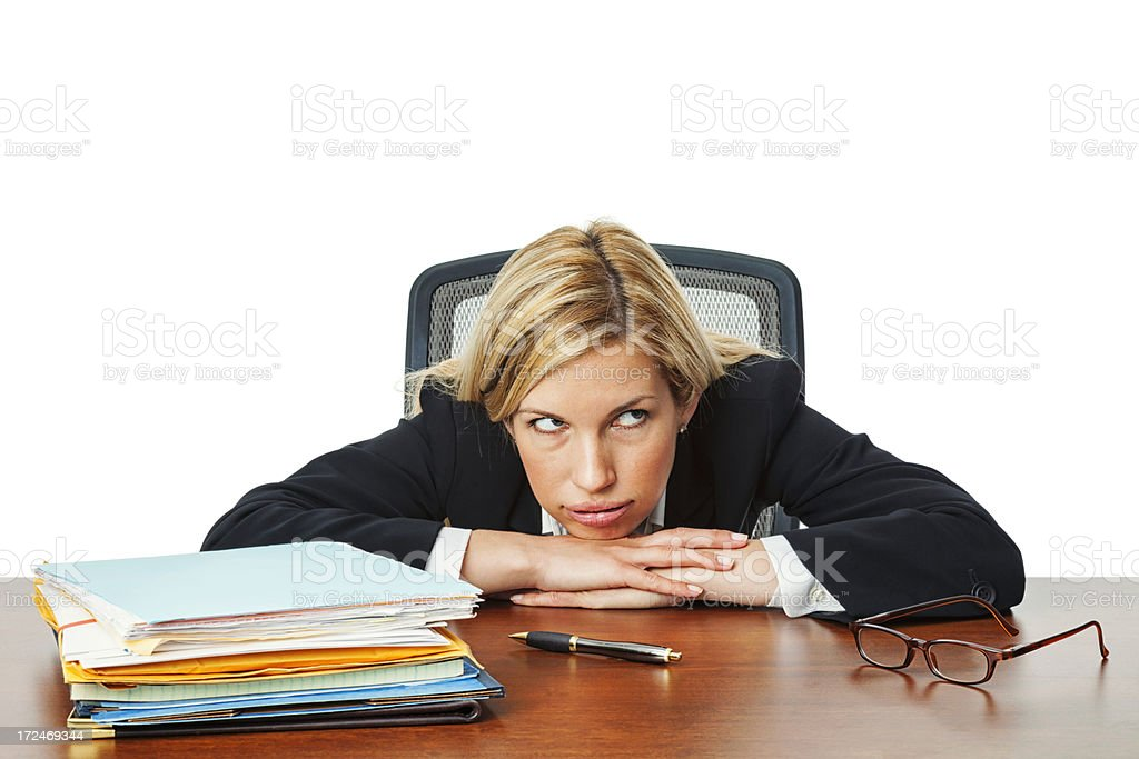 Overwhelmed Businesswoman royalty-free stock photo