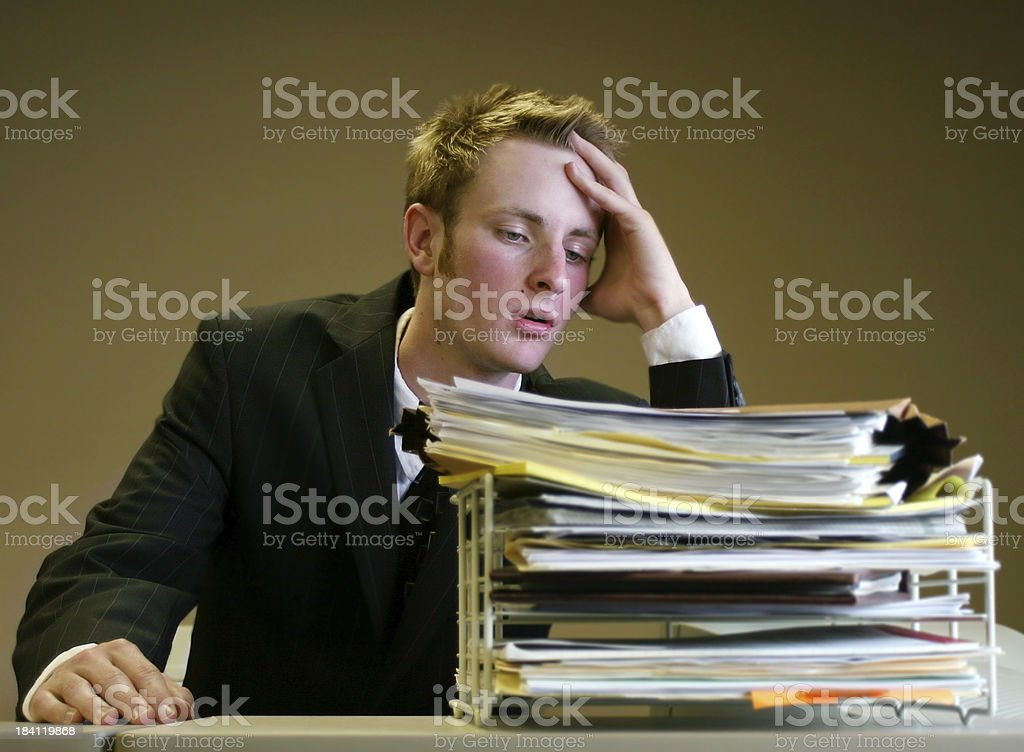 overwhelmed man royalty-free stock photo
