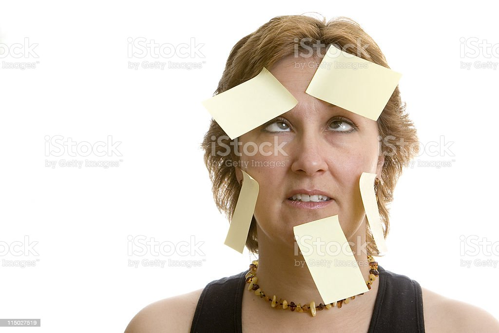 Overwhelmed office worker stock photo