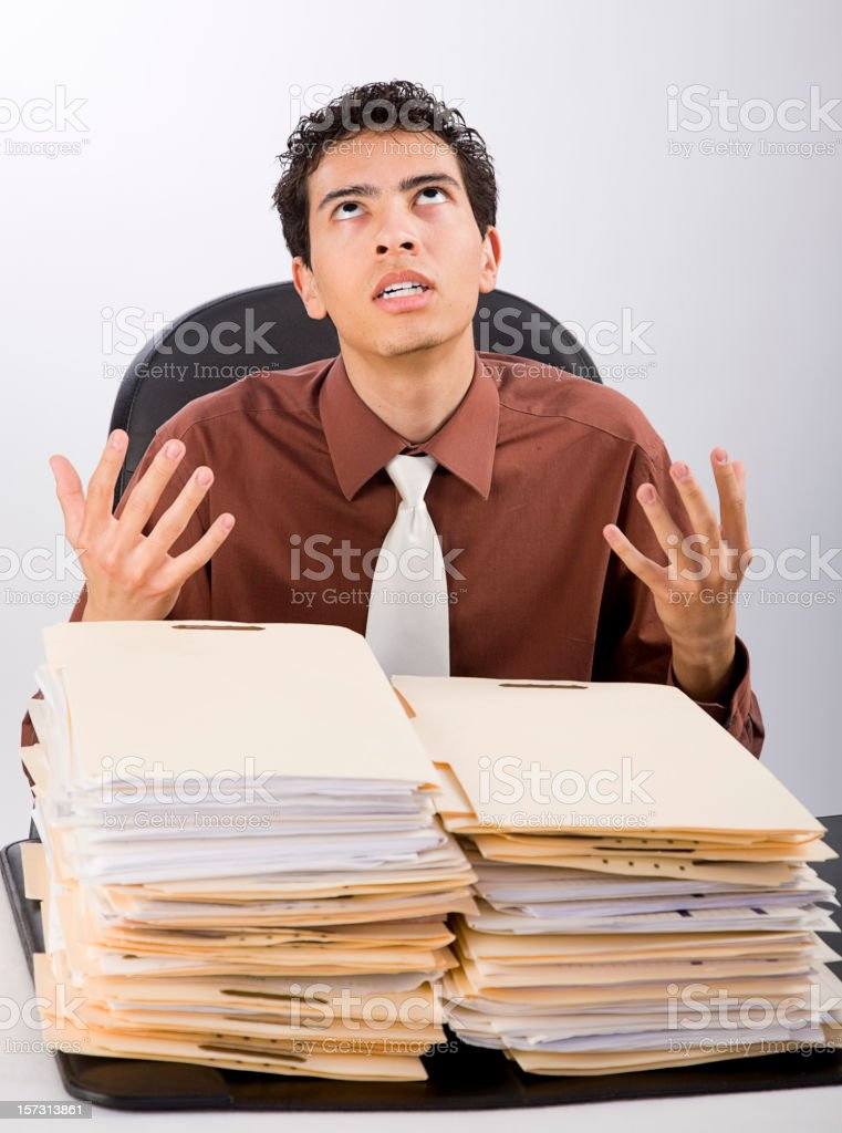 Overwhelmed Office Worker royalty-free stock photo
