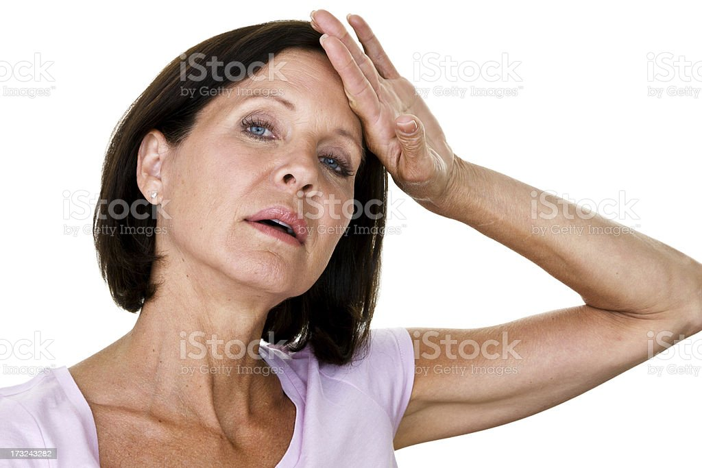 Overwhelmed woman stock photo