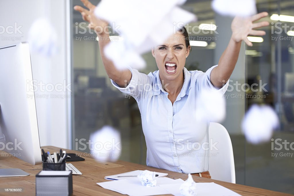 Overworked and stressed! stock photo