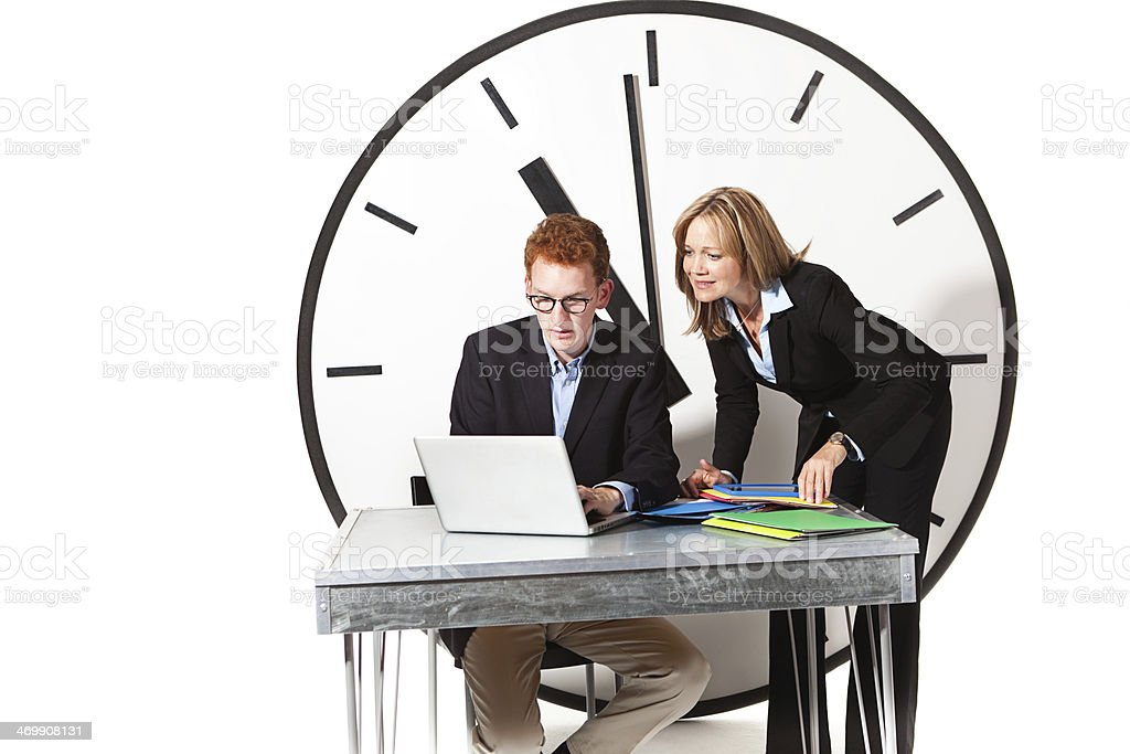Overworked Business Team Working Against Deadline TIme Management royalty-free stock photo