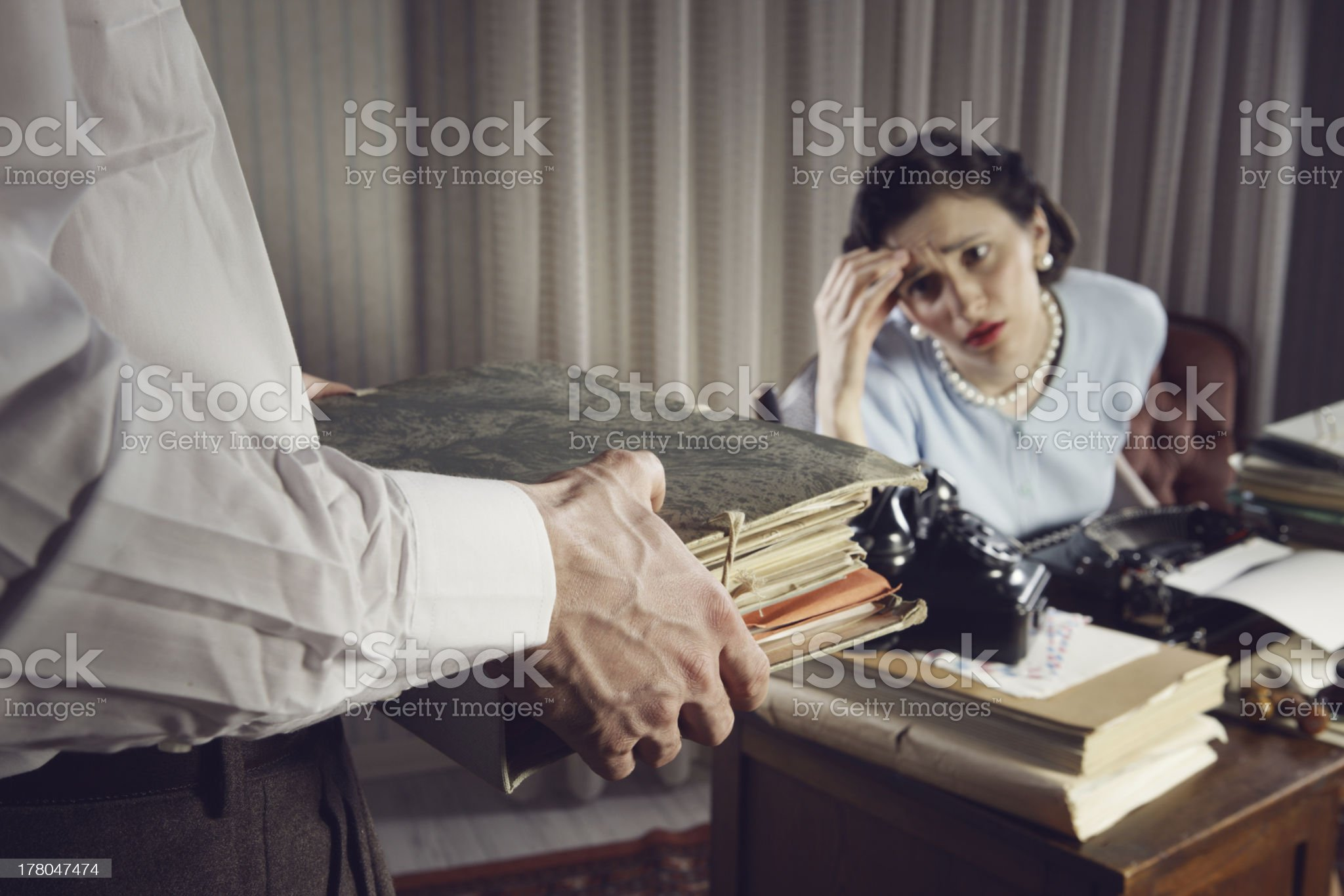 Overworked business woman royalty-free stock photo