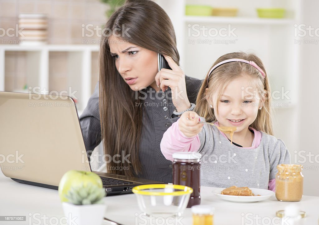 Overworked businesswoman at home royalty-free stock photo