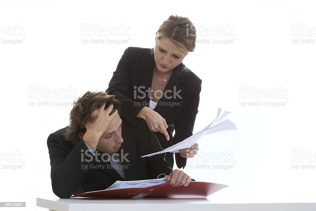 Overworked employee and exigent leader royalty-free stock photo