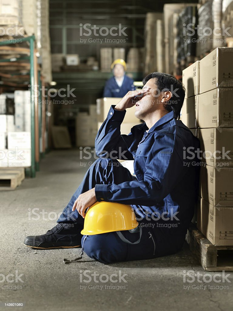 Overworked Japanese Worker stock photo