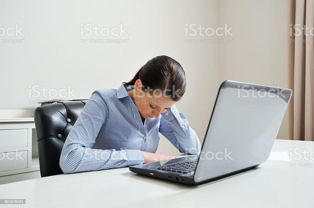Overworked office employee stock photo