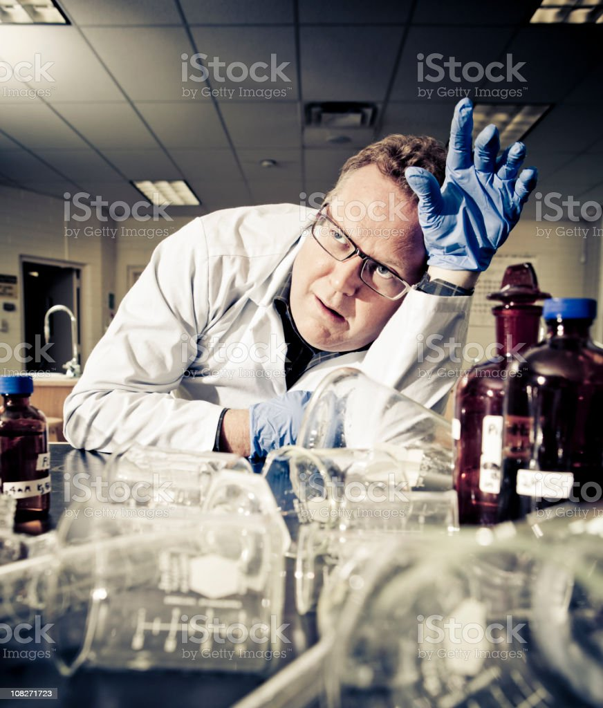Overworked Scientist royalty-free stock photo