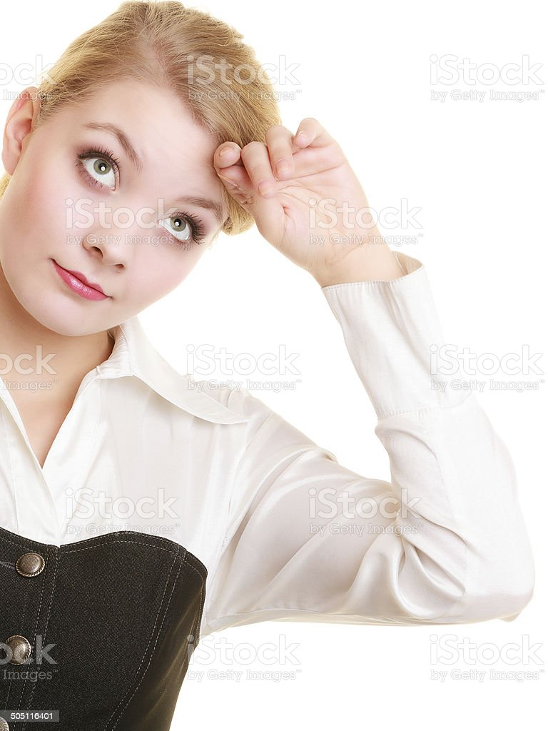 Overworked tired businesswoman woman girl stock photo